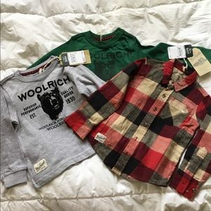 Boys lot of 3 new long sleeve Woolrich shirts 3 4
